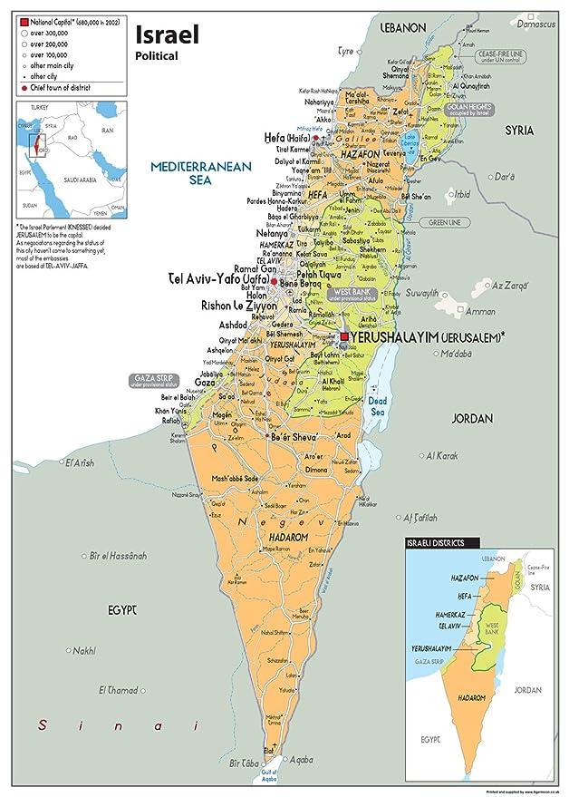 Israel Political Wall Map – Papier laminiert poster [GA] A2 ...