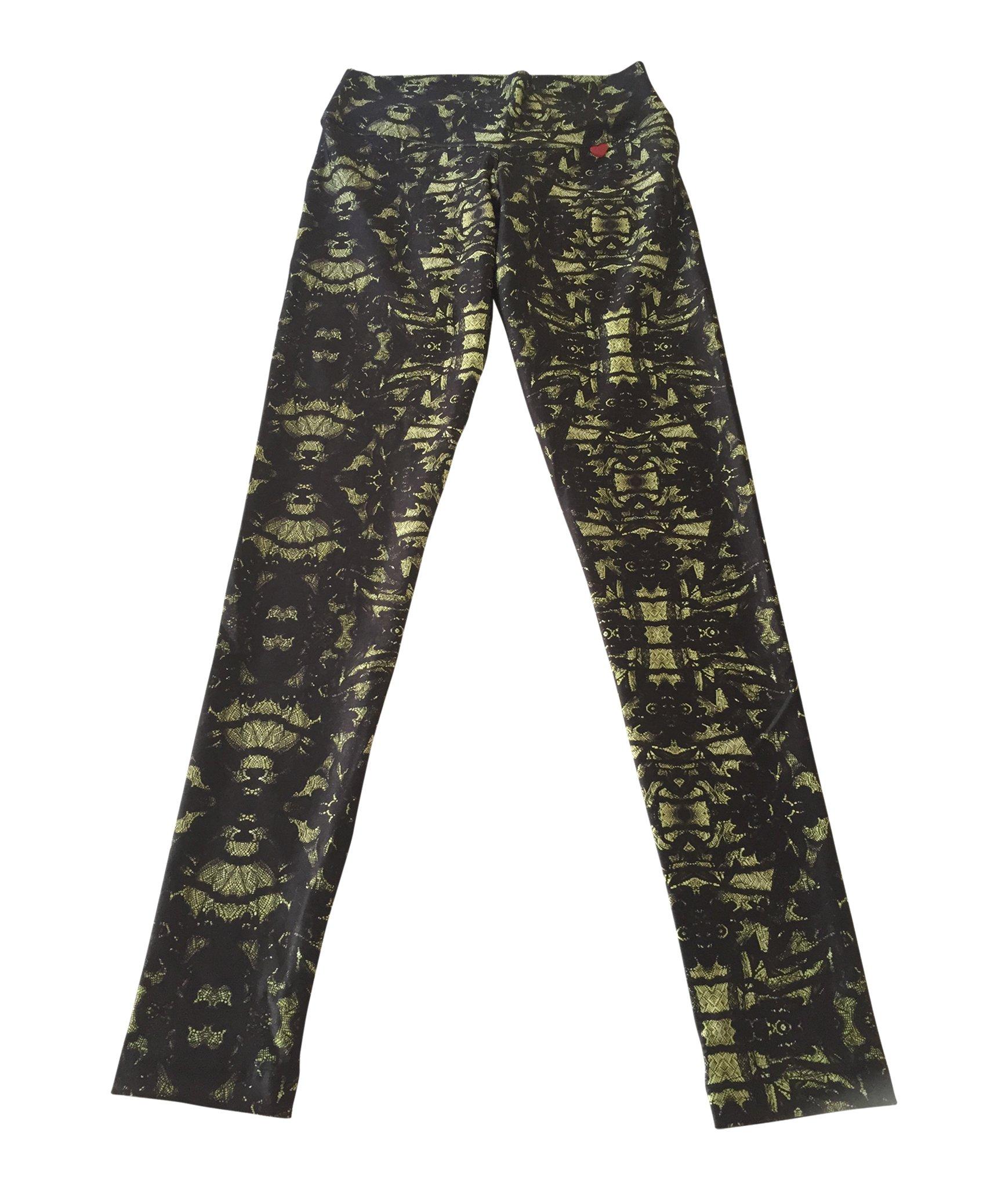 FITMAMA Lace Printed Legging, Sage Lace, Medium