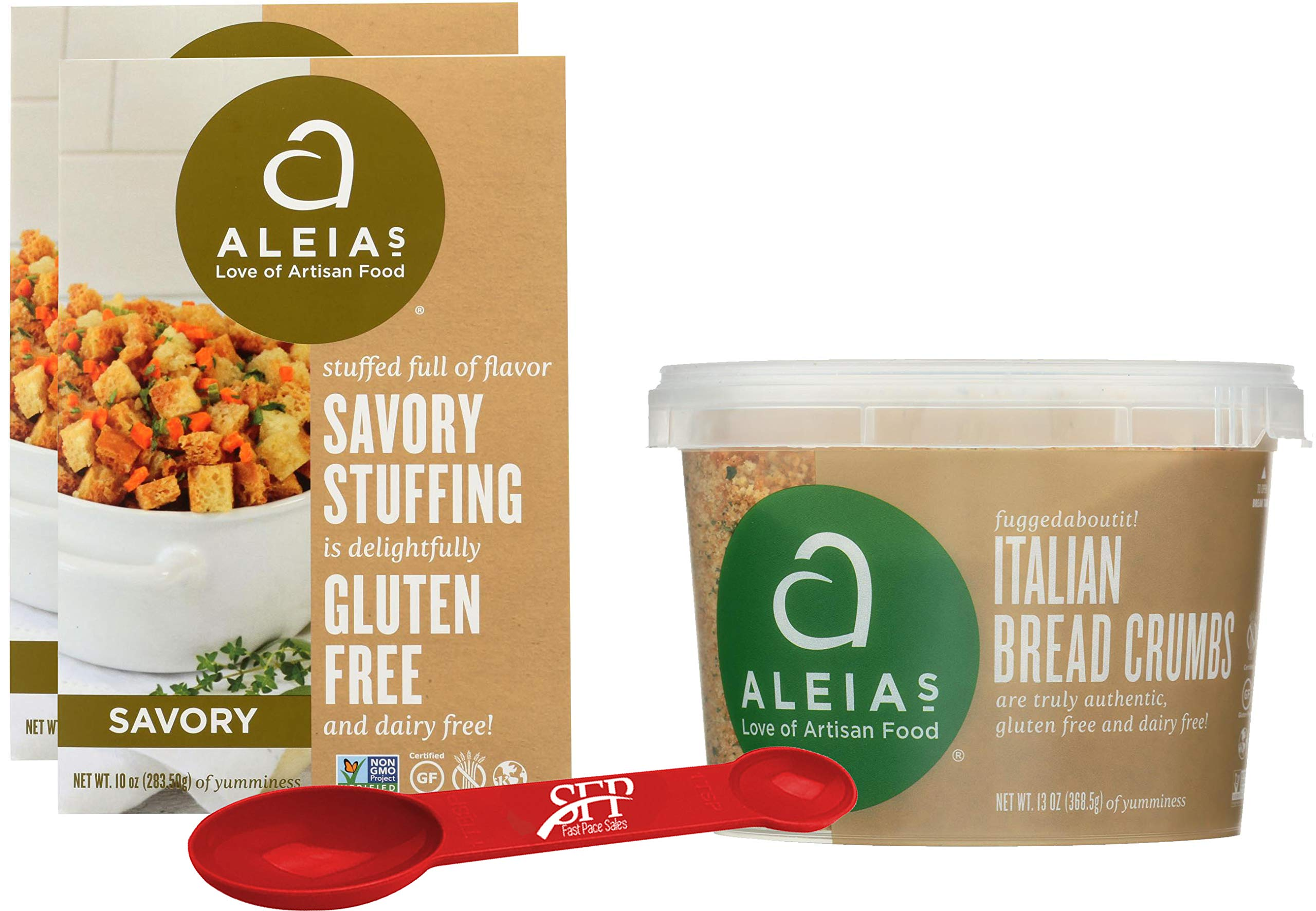 Gluten Free Variety Pack Includes: (2) Aleias Gluten Free Savory Stove Top Stuffing Mix, 10 Oz. (1) Aleias Gluten Free Bread Crumbs. Italian Breadcrumbs, 13 Oz. With a Bonus Measuring Spoon Included. by SFP
