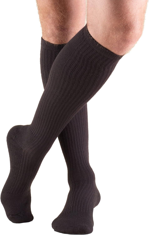 Truform Compression Socks, 15-20 mmHg, Men's Gym Socks, Knee High Over Calf Length, Brown, X-Large