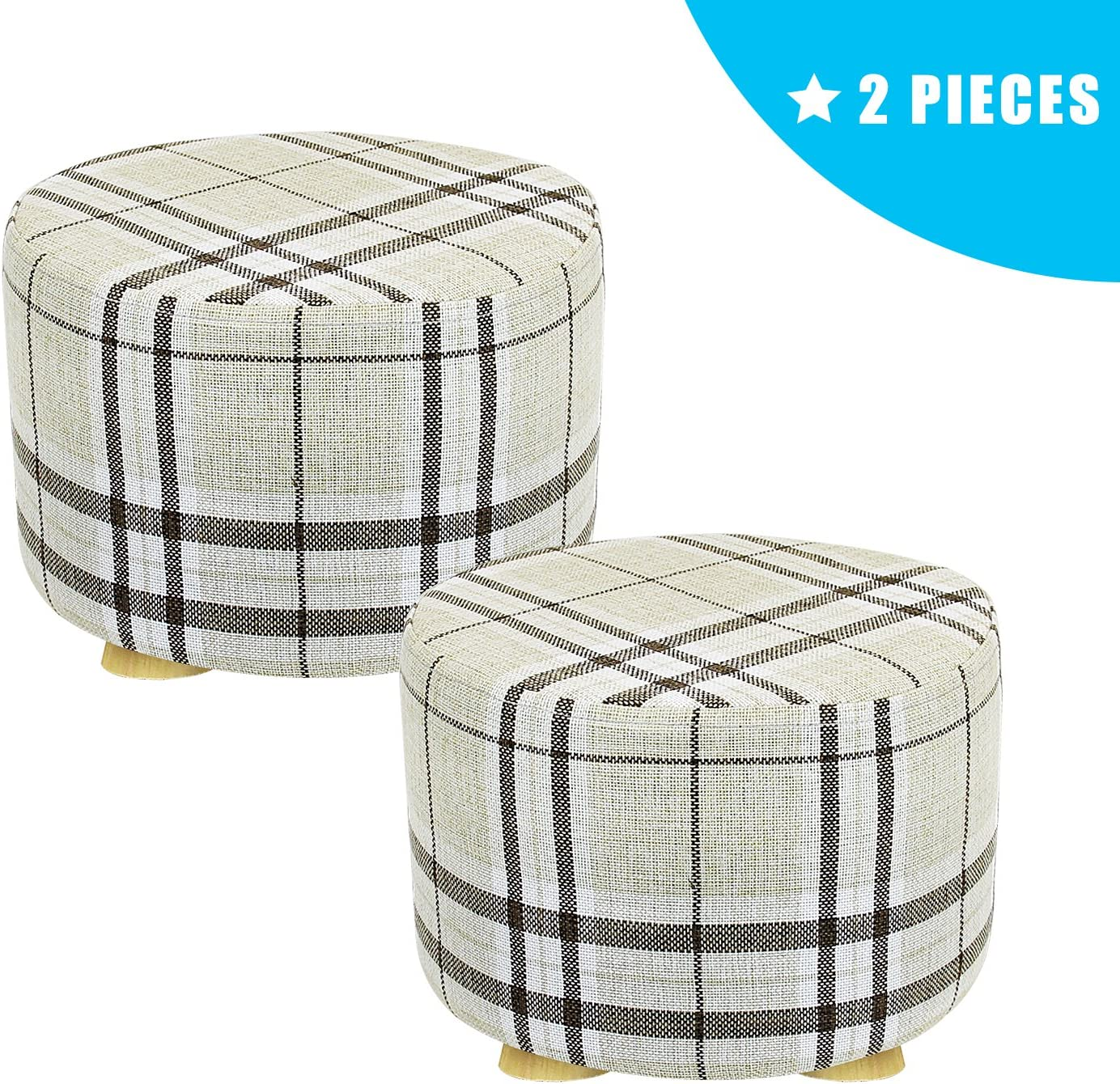 Cubic 2 Pieces Footstool Fabric Ottomans Bench Seat Foot Rest Step Stool Feet Protection Design 4 Leg Beige Jerry /& Maggie