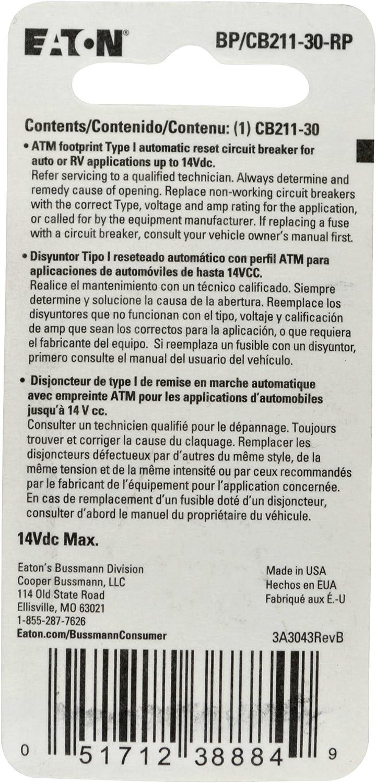 Bussmann CB211-30 Type I ATM Footprint Automotive Circuit Breaker 30 Amp... New
