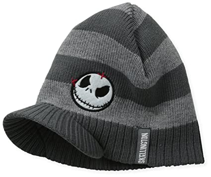 nightmare before christmas mens jack striped visor beanie grey one size at amazon mens clothing store