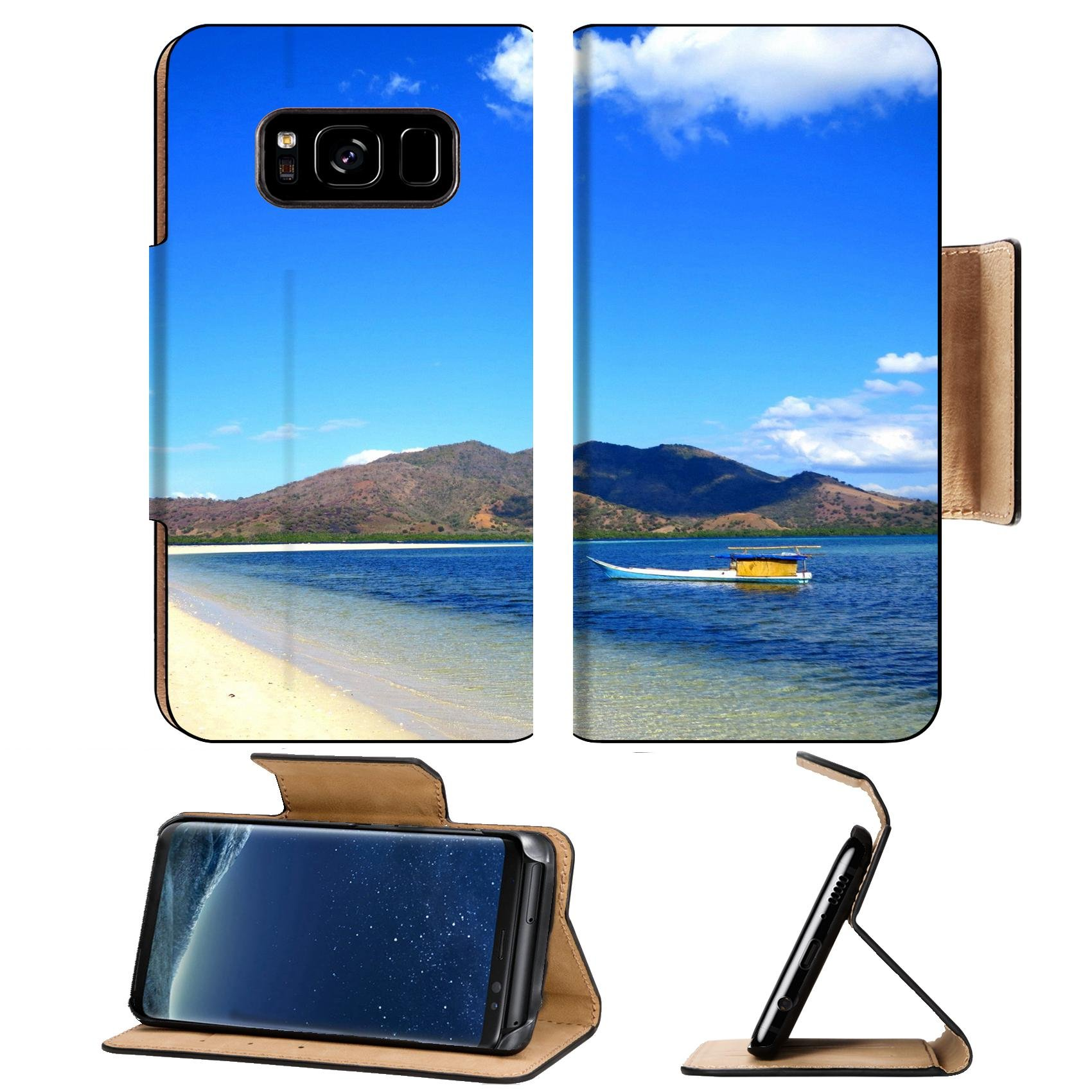 MSD Premium Samsung Galaxy S8 Flip Pu Leather Wallet Case IMAGE of beach sand sea summer blue water vacation sky landscape island travel ocean nature paradise tropical by MSD (Image #1)