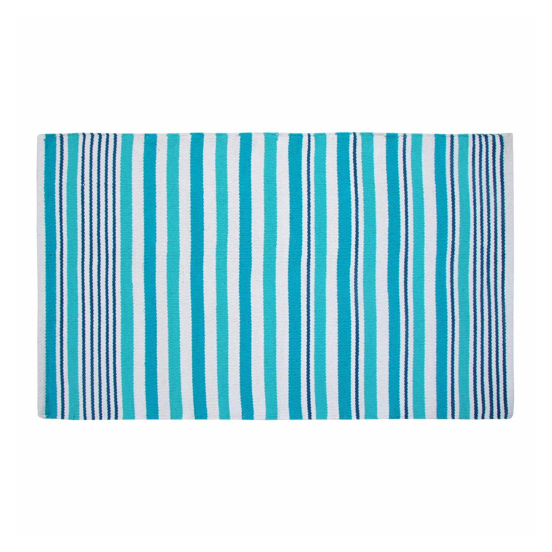 Homescapes Moderner Streifen Teppich Vorleger Selam aqua 150 x 240 cm 100% reine Baumwolle