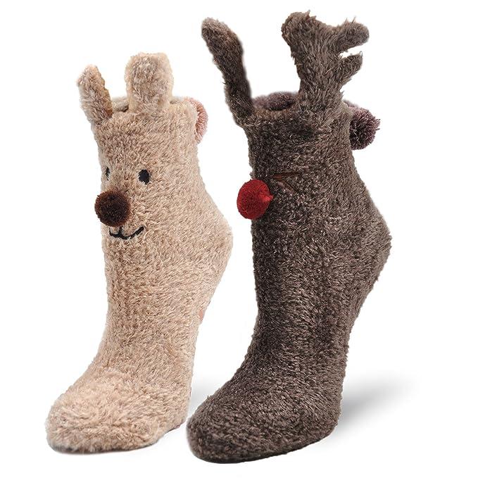 Mujer Calcetines Tipo Pantuflas Con Suela ABS Antideslizante, Invierno Zapatillas Calcetines Térmicos Acogedores y Suaves, Calcetines de Navidad, ...