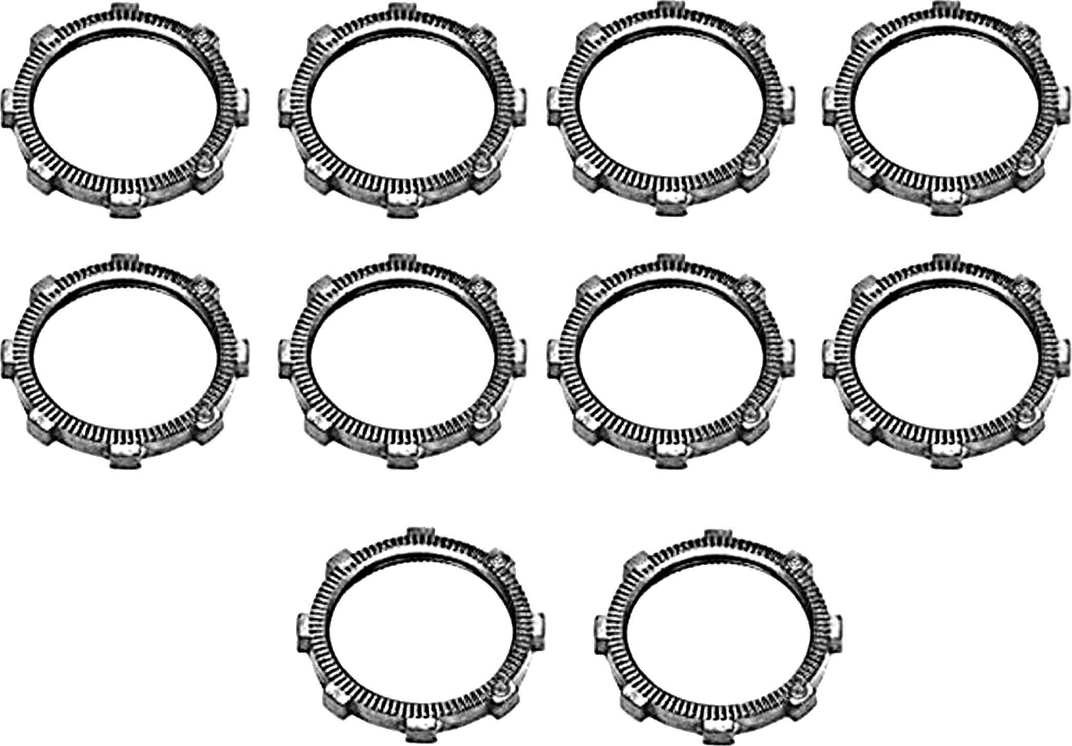 Bridgeport 100 3/8-Inch Zinc Die Cast Conduit Locknut, 10-Pack