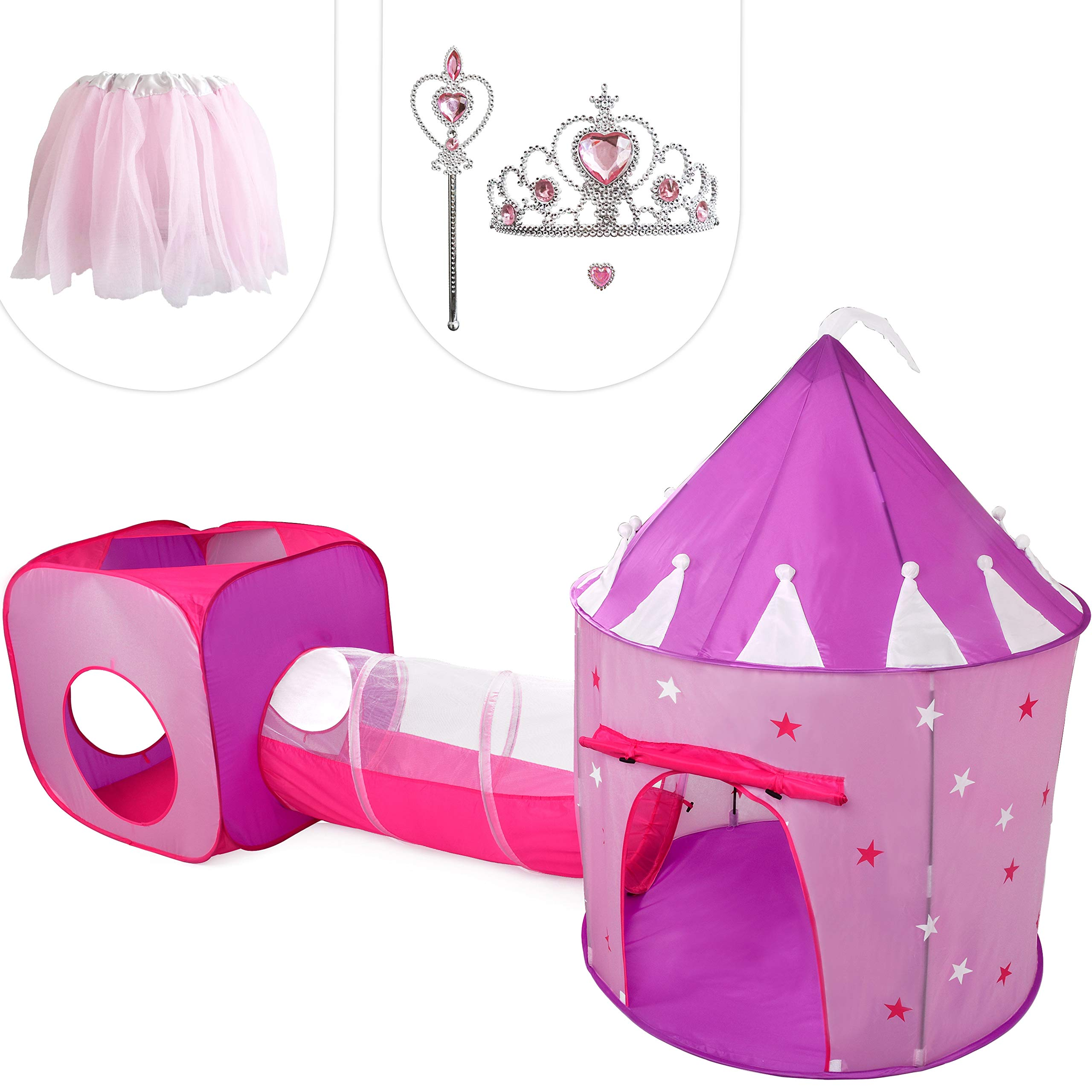 Gift for Girls, Princess Tent with Tunnel, Kids Castle Playhouse & Princess Dress up Pop Up Play Tent Set, Toddlers Toy Birthday Gift Present for Age 2 3 4 5 6 7 Years, Glow in The Dark Stars, Indoor by Hide N Side