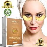 Under Eye Mask for Dark Circles - 24K Gold Collagen Eye Patches for Moisturizing & Reducing Dark Circles | Remove Eye Bags & Puffy Eyes,Smoothing Skin, Natural Lift | 15 Pairs
