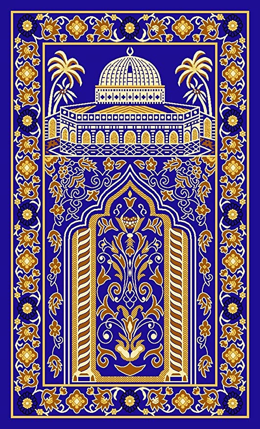 HUAHOO Islamic Prayer Rug Thick Muslim Islam Traditional Design Nylon Carpet With Non