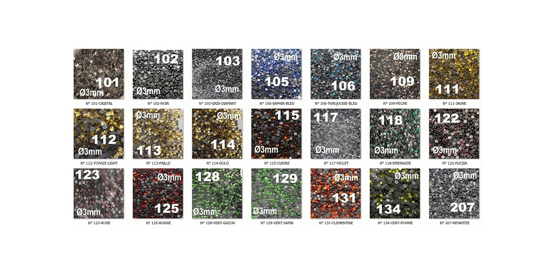 SAFIRMES 500 brillantini termoadesivi Rhinestone Hotfix n/° 128 /Ø 3 mm colore: verde erba s10