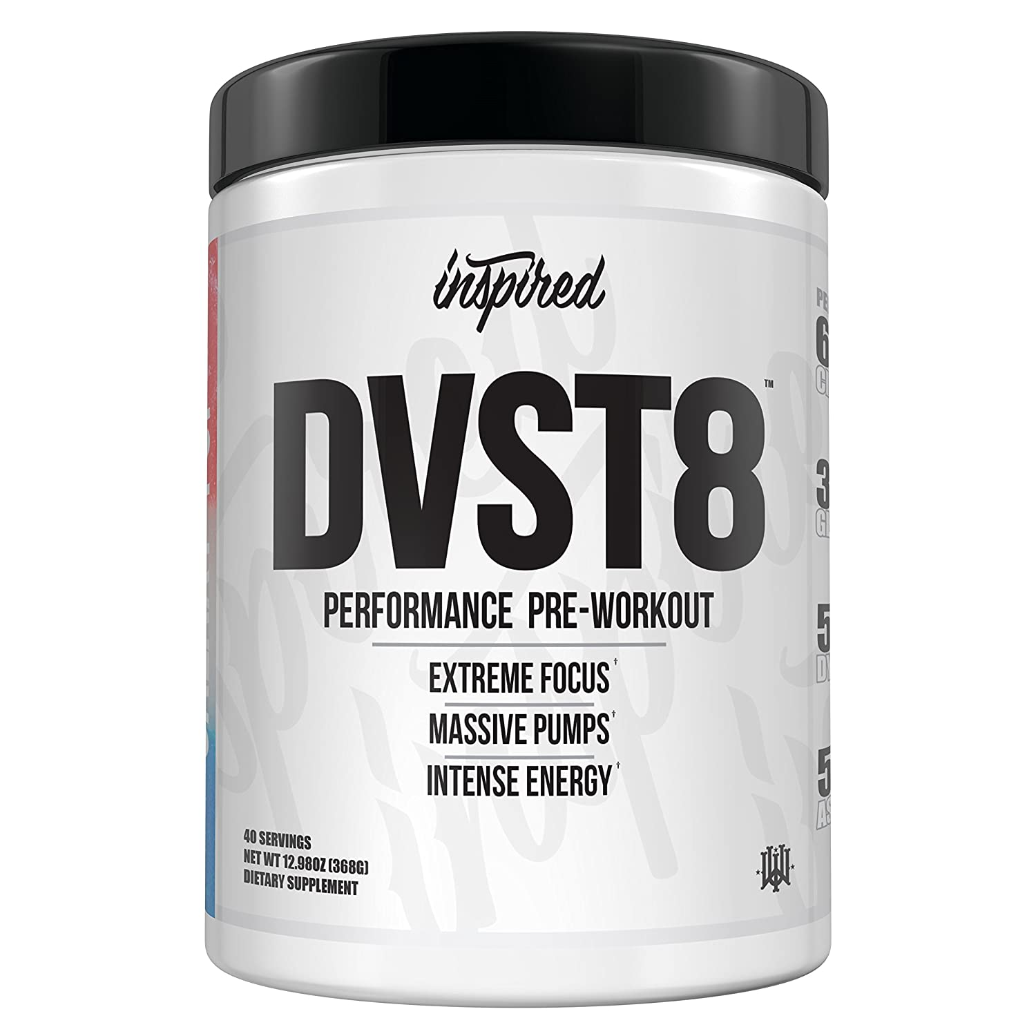 Inspired DVST8 Ultra Extreme Performance Pre-Workout Powder, Citrulline, Beta-Alanine, Dynamine Cali Gold 40 Servings