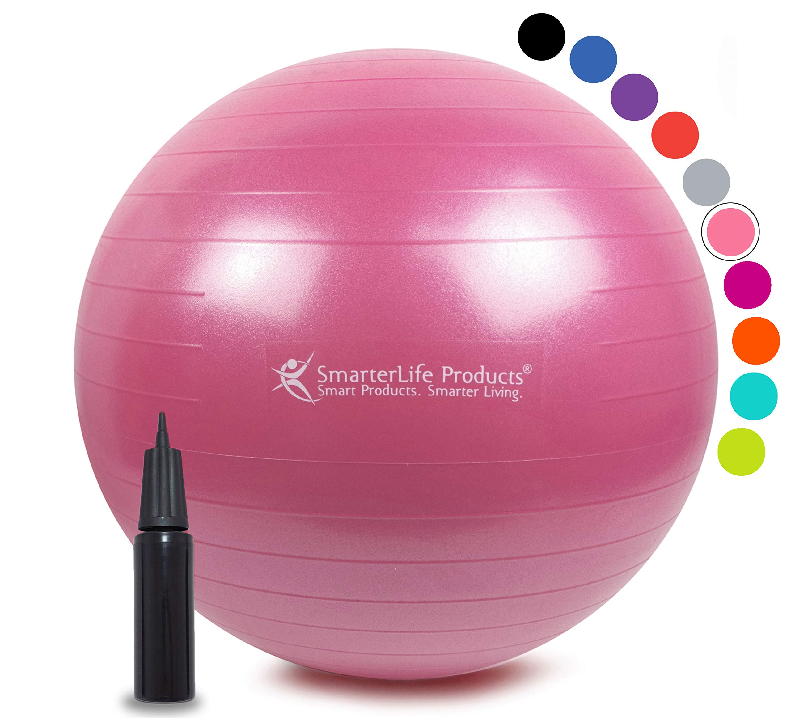 Exercise Ball for Yoga, Balance, Stability from SmarterLife - Fitness, Pilates, Birthing, Therapy, Office Ball Chair, Classroom Flexible Seating - Anti Burst, Non Slip + Workout Guide (Pink, 45) by SmarterLife Products (Image #1)