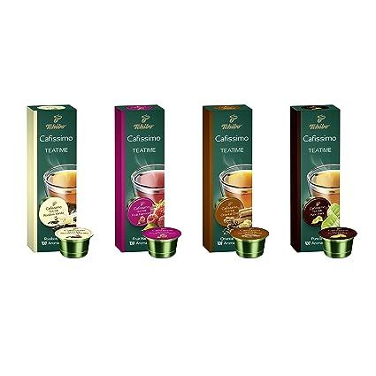 28f6e336d82871 Tchibo Cafissimo Tee Sorten Mix, Früchtetee, Roibos Vanilla, Pure Black,  Oriental Chai, Probierbox - 40 Bio-Tee-Kapseln