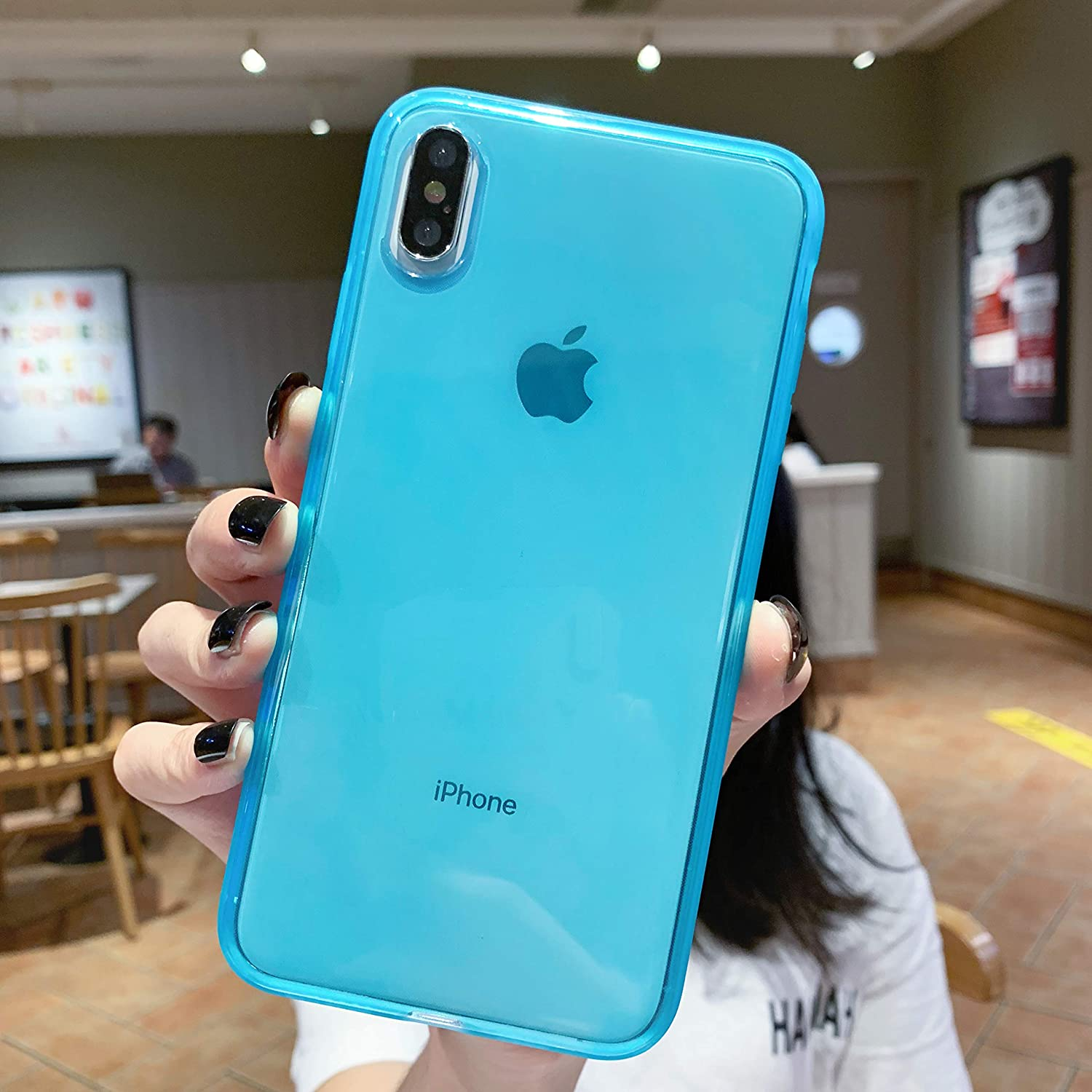 """iPhone X Clear Case,iPhone Xs Case,[Matte Shock-Absorption Bumper Edge] Silicone TPU Soft Gel Phone Cover for Apple iPhone X/Xs 5.8"""" (2018) - Clear Blue"""