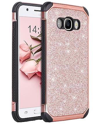finest selection de270 374f0 Galaxy J7 2016 Case, Galaxy J7 J710 Case, BENTOBEN Glitter 2 in 1 Luxury  Bling Hybrid Hard PC Sparkly Shiny Faux Leather Chrome Shockproof  Protective ...