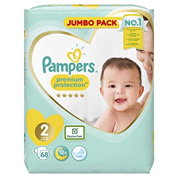 Pampers Premium Protection - Pañales, talla 2 (4-8 kg), paquete jumbo (1 paquete de 68 unidades)