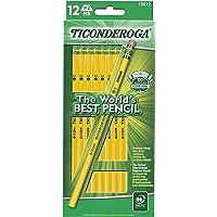 TICONDEROGA Pencils, Wood-Cased, Unsharpened, Graphite #2 HB Soft, Yellow, 12-Pack (13812)