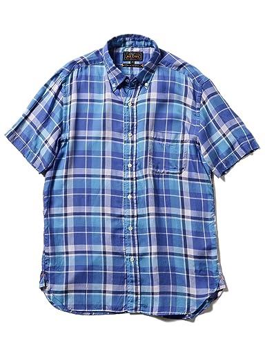Short Sleeve Twill Plaid Buttondown Shirt 11-01-0874-139: Blue