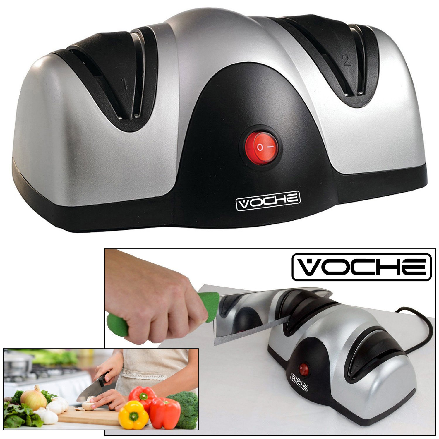 Voche® Professional Electric Two Stage Knife & Scissor Sharpener