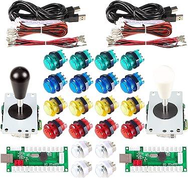 2 Players Sanwa DIY USB Arcade Encoder Joystick Buttons For Retropie 3B
