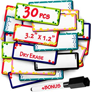 Dry Erase Magnetic Labels and Stickers - Blank Write on Magnets - Peel and Stick Magnetic Sheets use as Whiteboard Magnets, Writable Magnetic Tape, Magnetic Accents, Name Tag and Shelf Magnetic Labels
