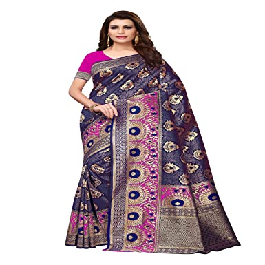bededdf665ff54 Marvellous Sarees Present Women's Kanjivaram Cotton Silk Banarasi Saree  with Blouse Piece (Multi-Color_Free_Size) BANARASI PAN PINK: Amazon.in:  Clothing & ...