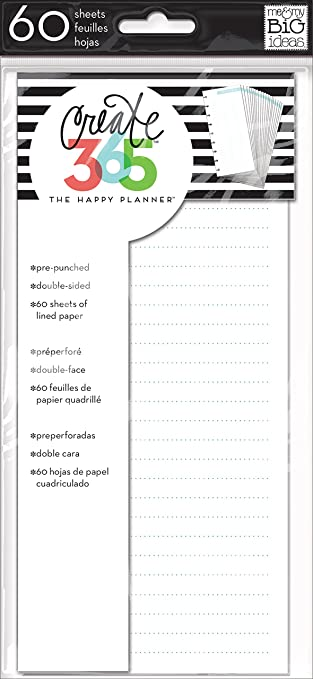 Me  My Big Ideas Create 365 The Happy Planner Lined Paper Blue