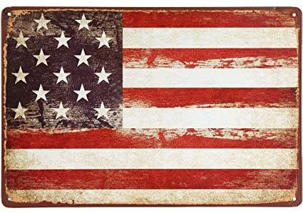 Amazon.com: ERLOOD American Flag Logo Retro Vintage Decor Tin Sign ...