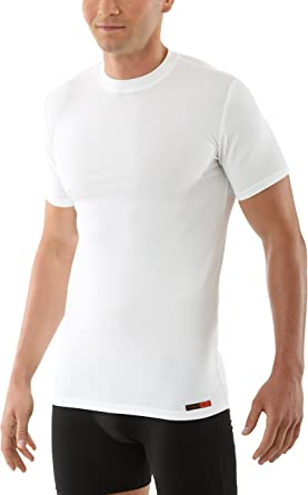 ALBERT KREUZ Camiseta Interior Blanca para Hombre de Manga Corta con Cuello Redondo y de Micromodal elástico