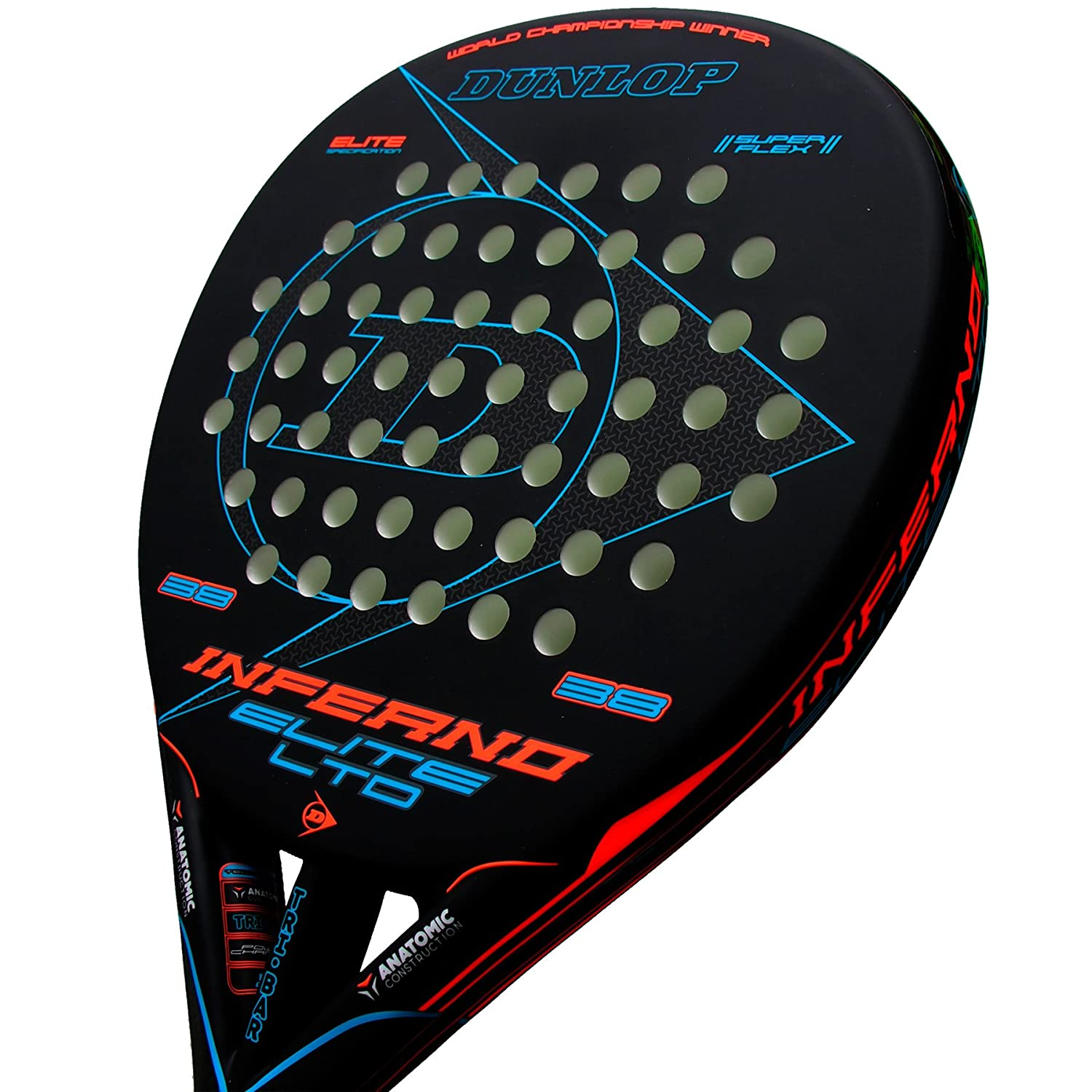 Dunlop Pala de pádel Inferno Elite LTD Orange - Blue: Amazon.es ...