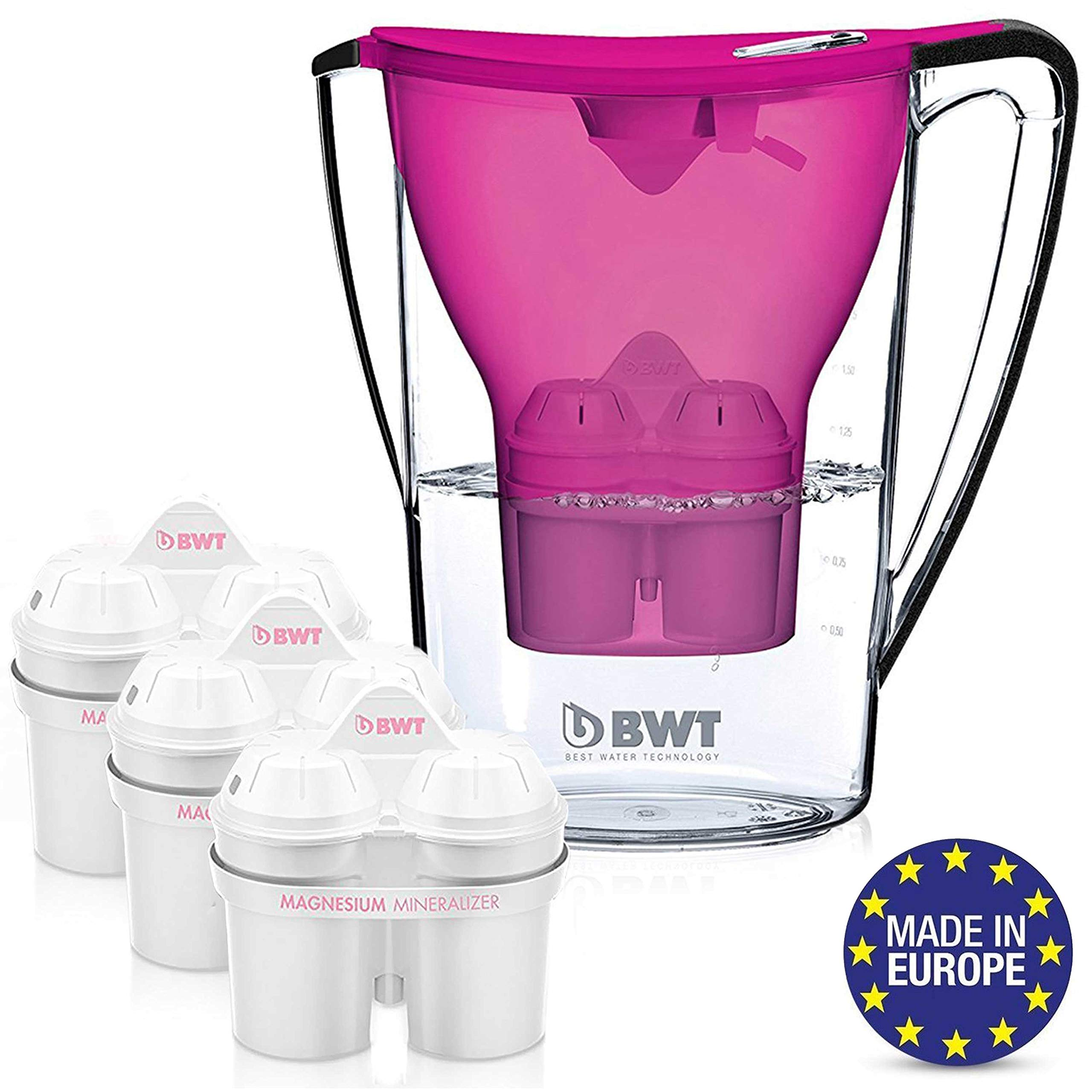BWT Premium Water Filter Pitcher With 3 Bonus 60 Day Filters, Award Winning Austrian Quality, Technology For Superior Filtration & Taste (Aubergine)