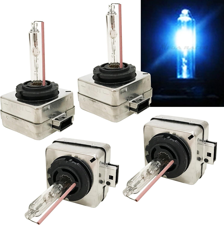 Mega Racer D1C D1R D1S Xenon HID Headlights Bulb Xenon Light Bulbs Replacement 10000K Deep Blue HID Lights 66147 66144 66049 66410 66146 HID Bulbs HID Headlight Bulbs HID Bulbs Xenon Bulbs