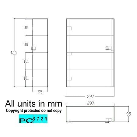 PC3721® 1 Vitrina de acrílico transparente de alto brillo con ...