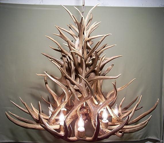 real antler chandelier cheap real antler chandelier lights shed art elk covered sockets handmade extra amazoncom