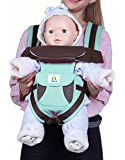 Kiddale Ergonomic Baby Carrier Sling Bag with Detachable Hip Seat Adjustable Waist Strap for 28-38inch, Thick and Padded Shoulder Straps, Breathable Fabric and Storage Pockets-Green