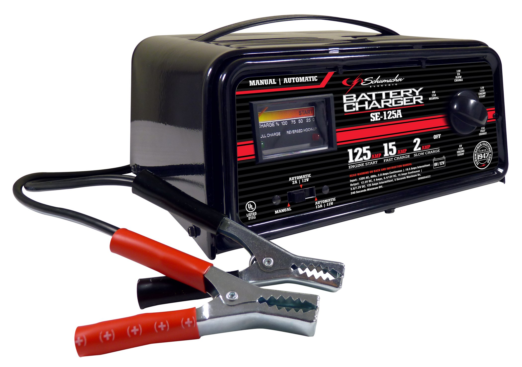 Schumacher SE-125A 2/15/125 Amp Automatic/Manual Battery Charger with Engine Start