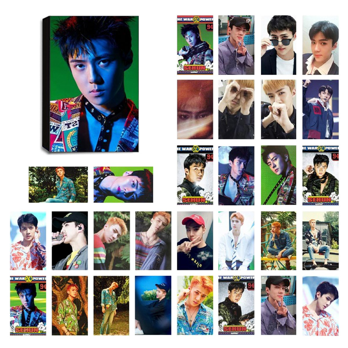 KPOP EXO Lomo Cards EXO-K & EXO-M Photocard Set of 30 for EXO-L Fan with  Greeting Card Postcards Box (BAEKHYUN 2)