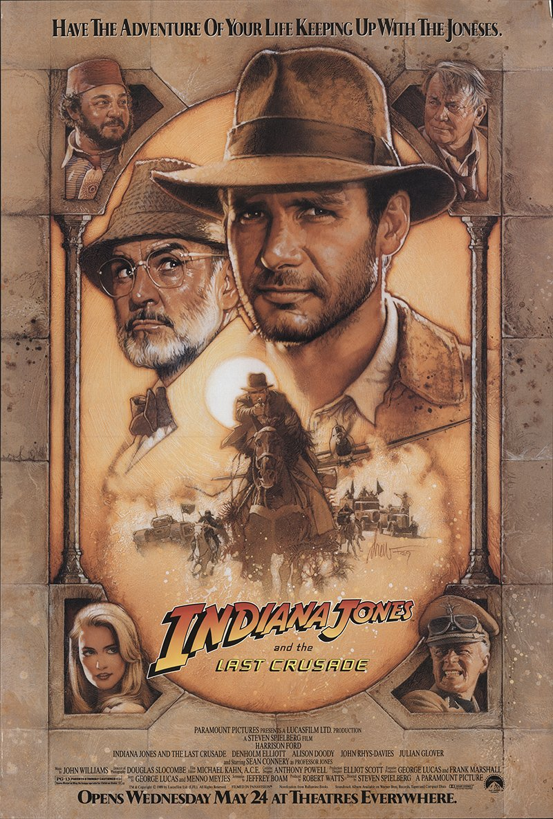 Indiana Jones and the Last Crusade 1989 Authentic 27' x 41' Original Movie Poster Rolled Very Fine Sean Connery Adventure Steven Spielberg U.S. One Sheet Advance