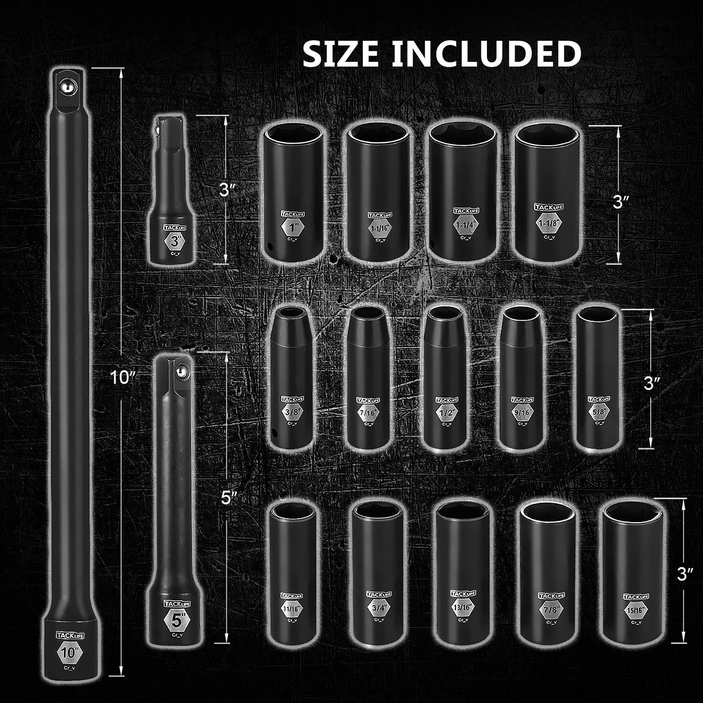 TACKLIFE 1/2-Inch Drive Master Deep Impact Socket Set, Inch, CR-V, 6 Point, 17-Piece Set - HIS2A by TACKLIFE (Image #2)