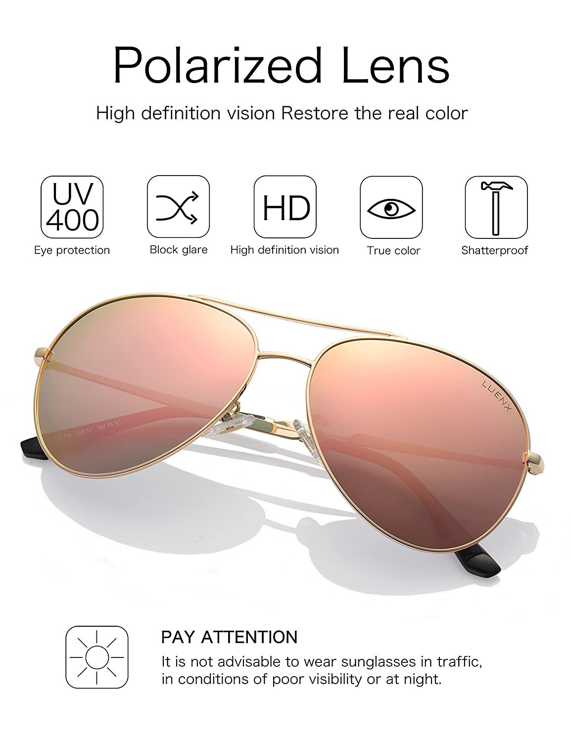 21ad694cda LUENX Aviator Sunglasses Polarized for Men   Women with Case - 400 UV pink  Lens Metal Gloss Gold Frame Mirrored 60mm  Amazon.co.uk  Clothing
