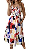 Angashion Women's Dresses - Summer Boho Floral Spaghetti Strap Button Down Belt Swing A line Midi Dress with Pockets