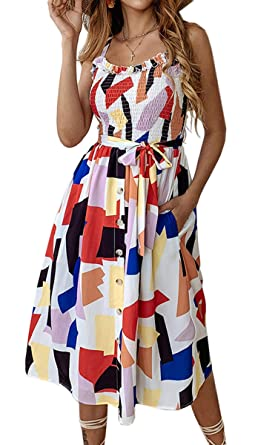 aa9bc6fee0a3 Angashion Women's Dresses - Summer Boho Floral Spaghetti Strap Button Down  Belt Swing A line Midi
