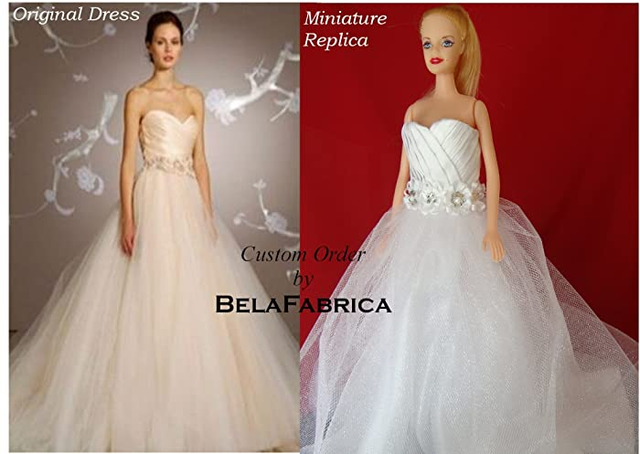 Custom Miniature Replica Wedding Dress Keepsake Gift For Wife And Daughter  1/6 Scale Barbie
