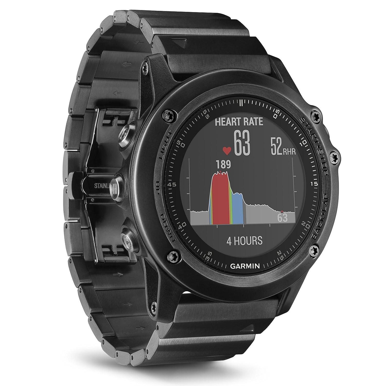 Garmin fēnix 3 HR Saphir GPS-Multisportuhr - mit Armband aus Edelstahl, Herzfrequenzmessung am Handgelenk, zahlreiche Sport- & Navigationsfunktionen