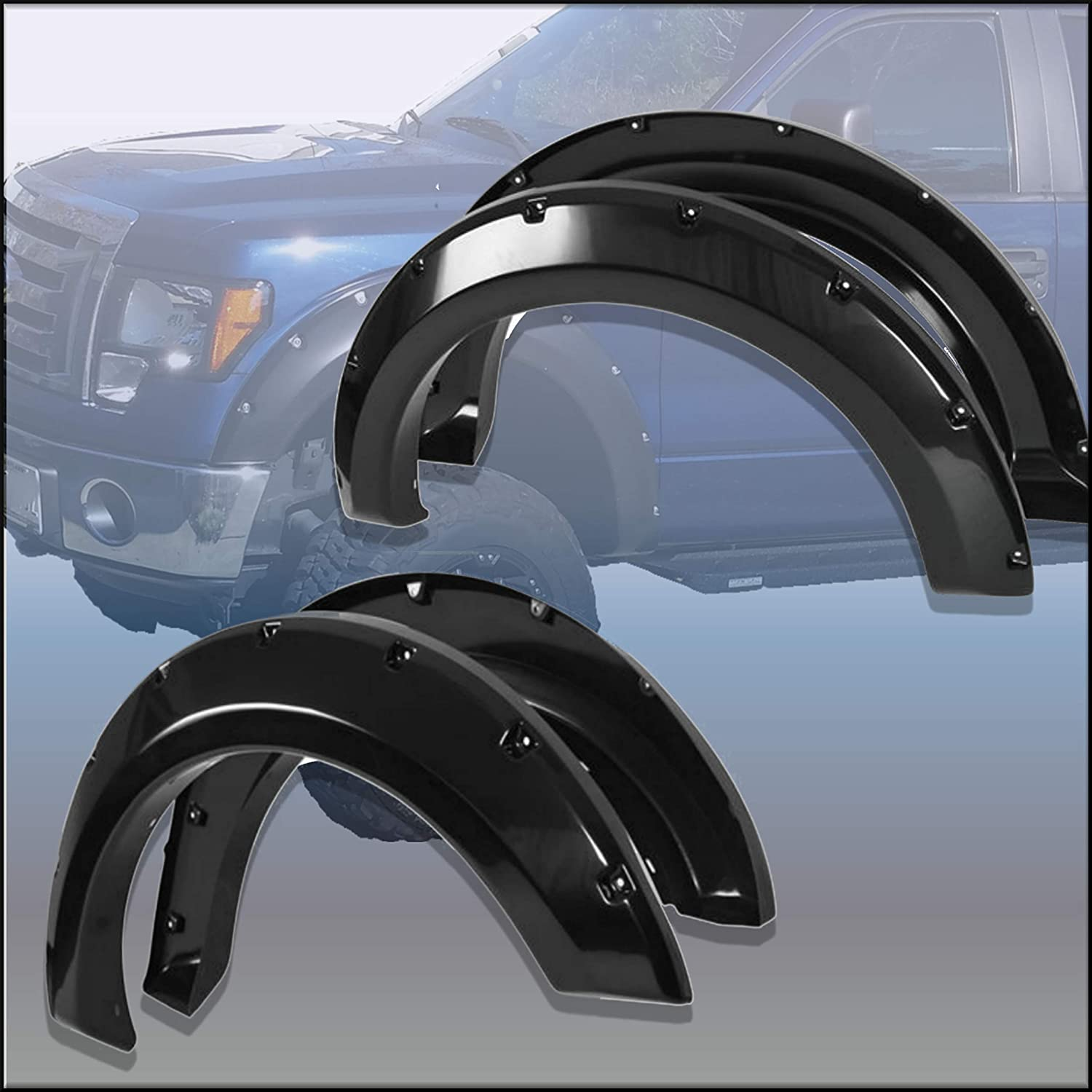 Fender Flares Rivet Pocket Style Smooth Set Bolt On Fits Ford F150 2004-2008 Pickup