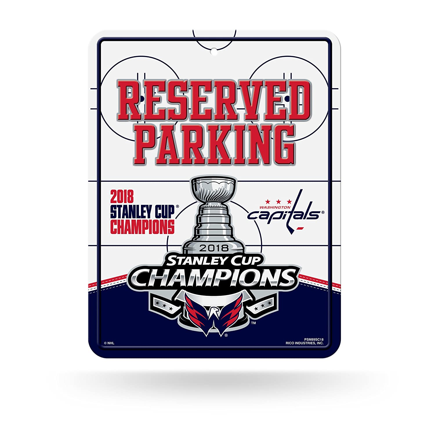 Rico Industries NHL Washington Capitals 2018 Stanley Cup Champions 8-Inch by 11-Inch Metal Parking Sign D/écor