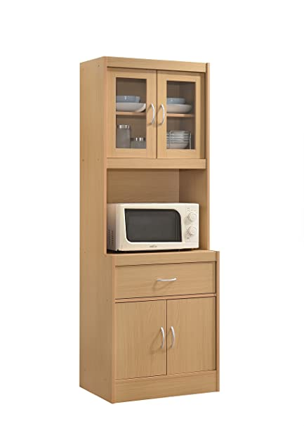Hodedah Long Standing Kitchen Cabinet With Top U0026 Bottom Enclosed Cabinet  Space, One Drawer,