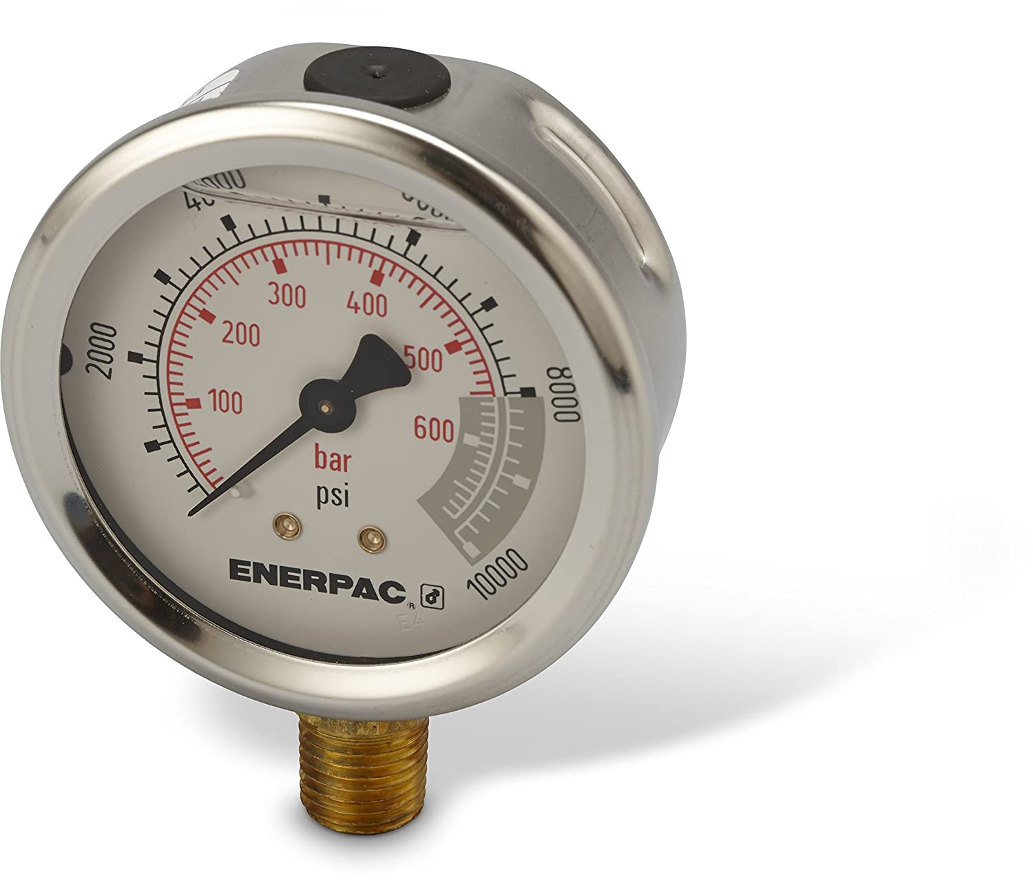 Enerpac G2535L Hydraulic Pressure Gauge With Dual 0 To 10 000 PSI And 700 Bar Range 2 1 Dia Face 4 NPTF Male Lower Mount Connection