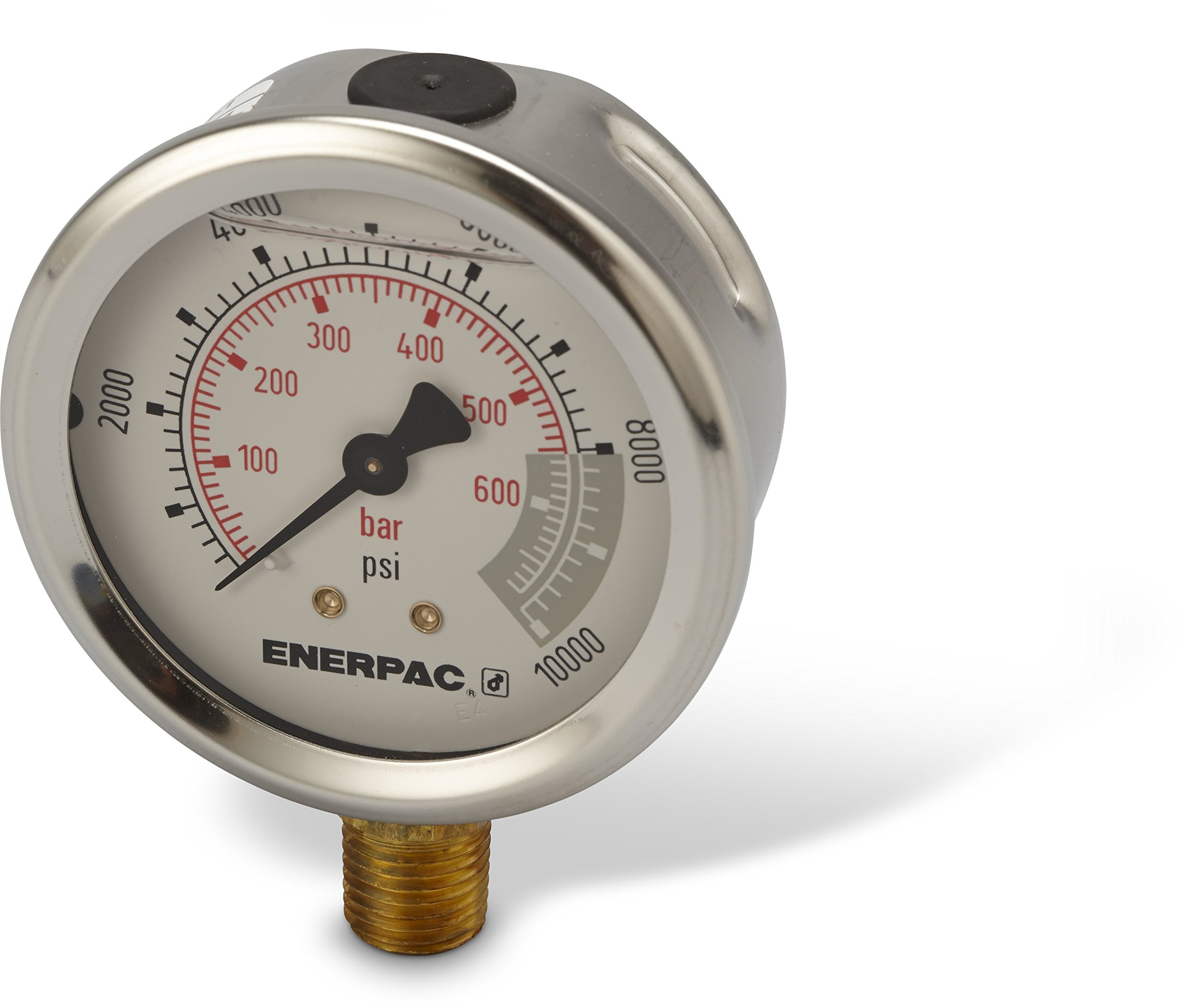 Enerpac G2535L  Hydraulic Pressure Gauge with Dual 0 to 10,000 PSI and 0 to 700 Bar Range, 2-1/2''-Dia. Face, 1/4'' NPTF Male, Lower-Mount Connection